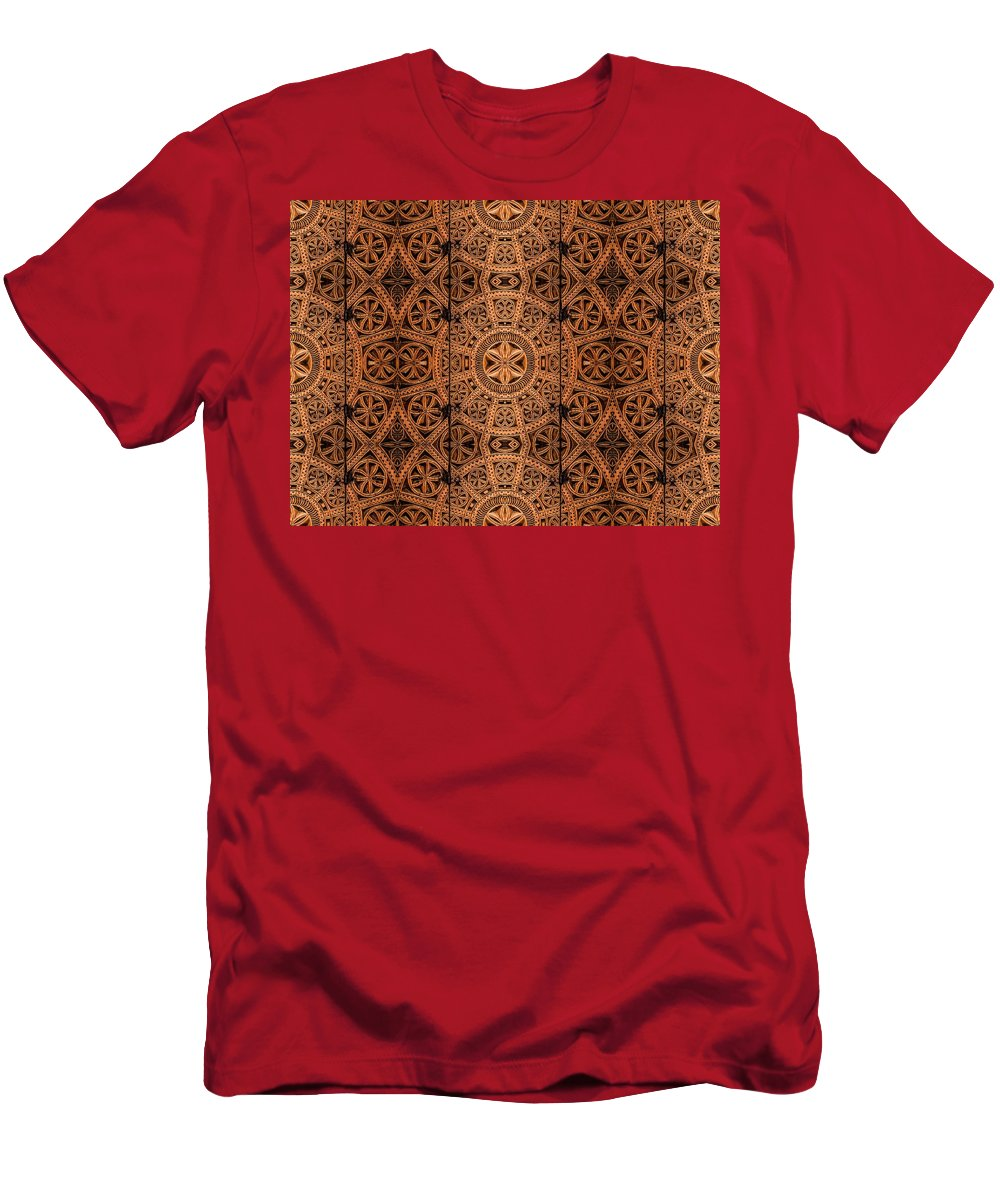 Cabinet Men's T-Shirt (Athletic Fit) featuring the photograph Carved Wooden Cabinet Symmetry by Hakon Soreide