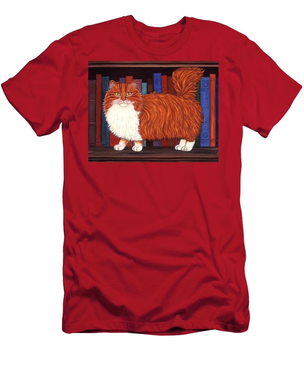 Cat Men's T-Shirt (Athletic Fit) featuring the painting Cat On Book Shelf by Linda Mears