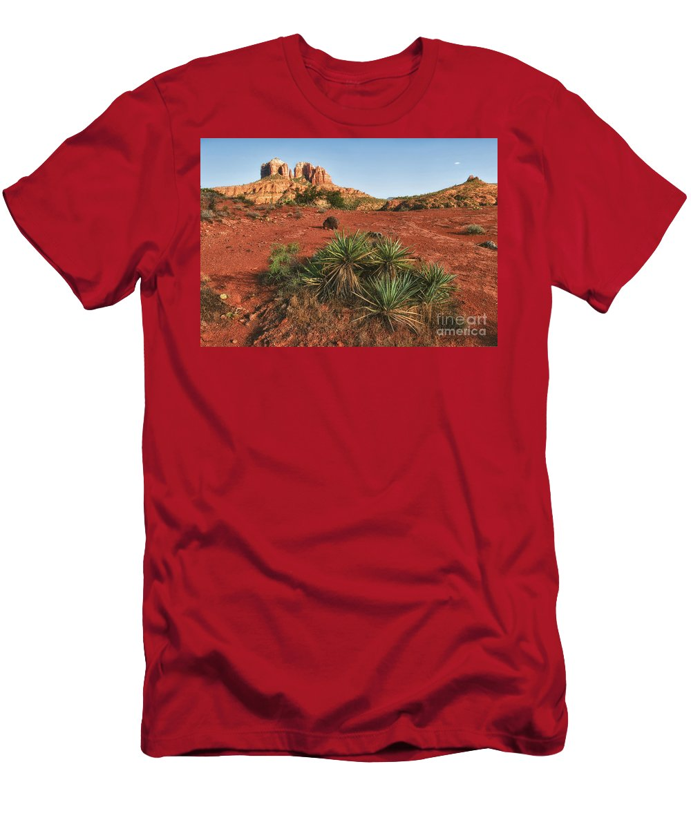 Sedona Men's T-Shirt (Athletic Fit) featuring the photograph Cathedral Rock by Claudia Kuhn