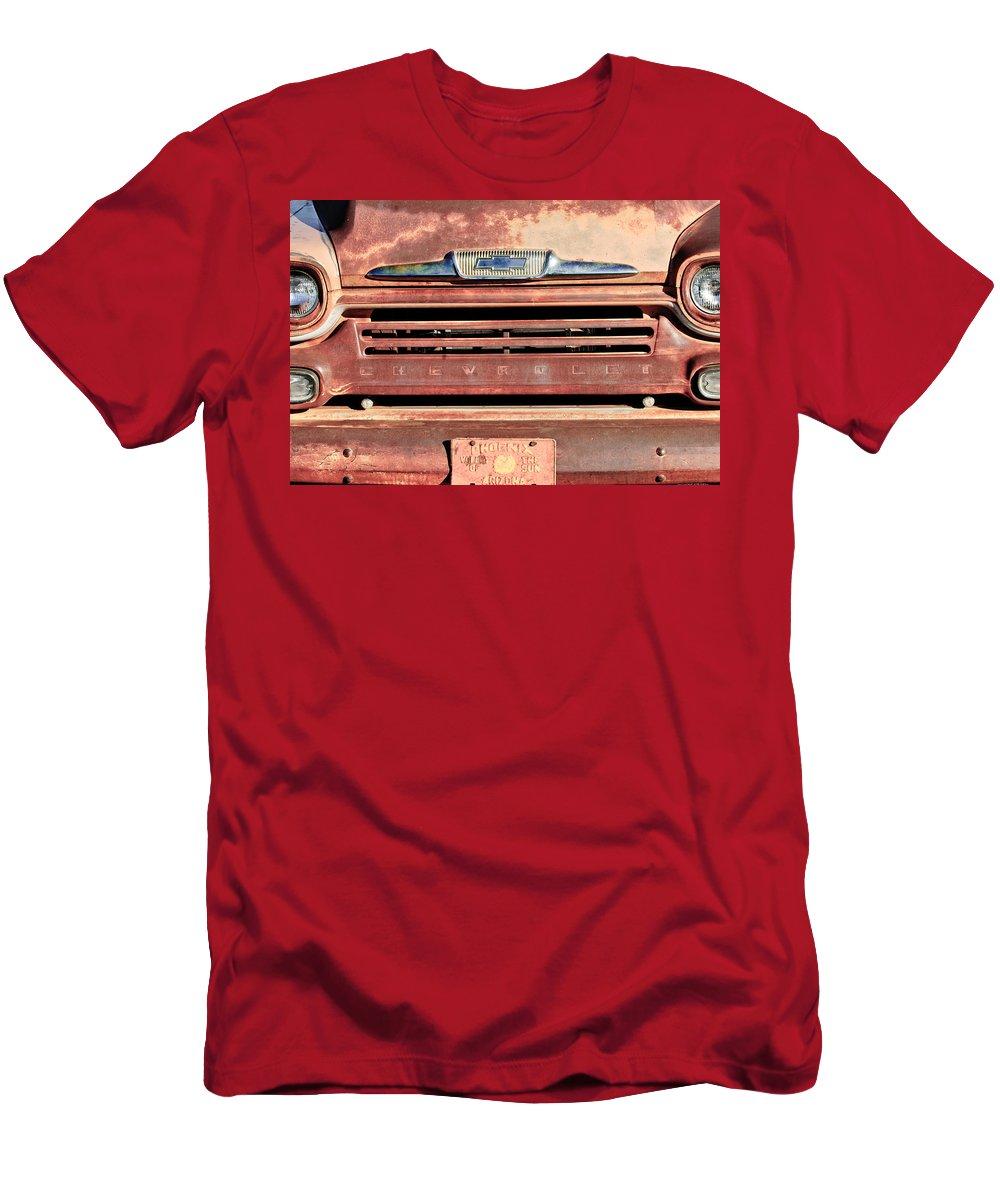 Chevrolet Emblem Men's T-Shirt (Athletic Fit) featuring the photograph Chevrolet Apache 31 Pickup Truck Grille Emblem by Jill Reger