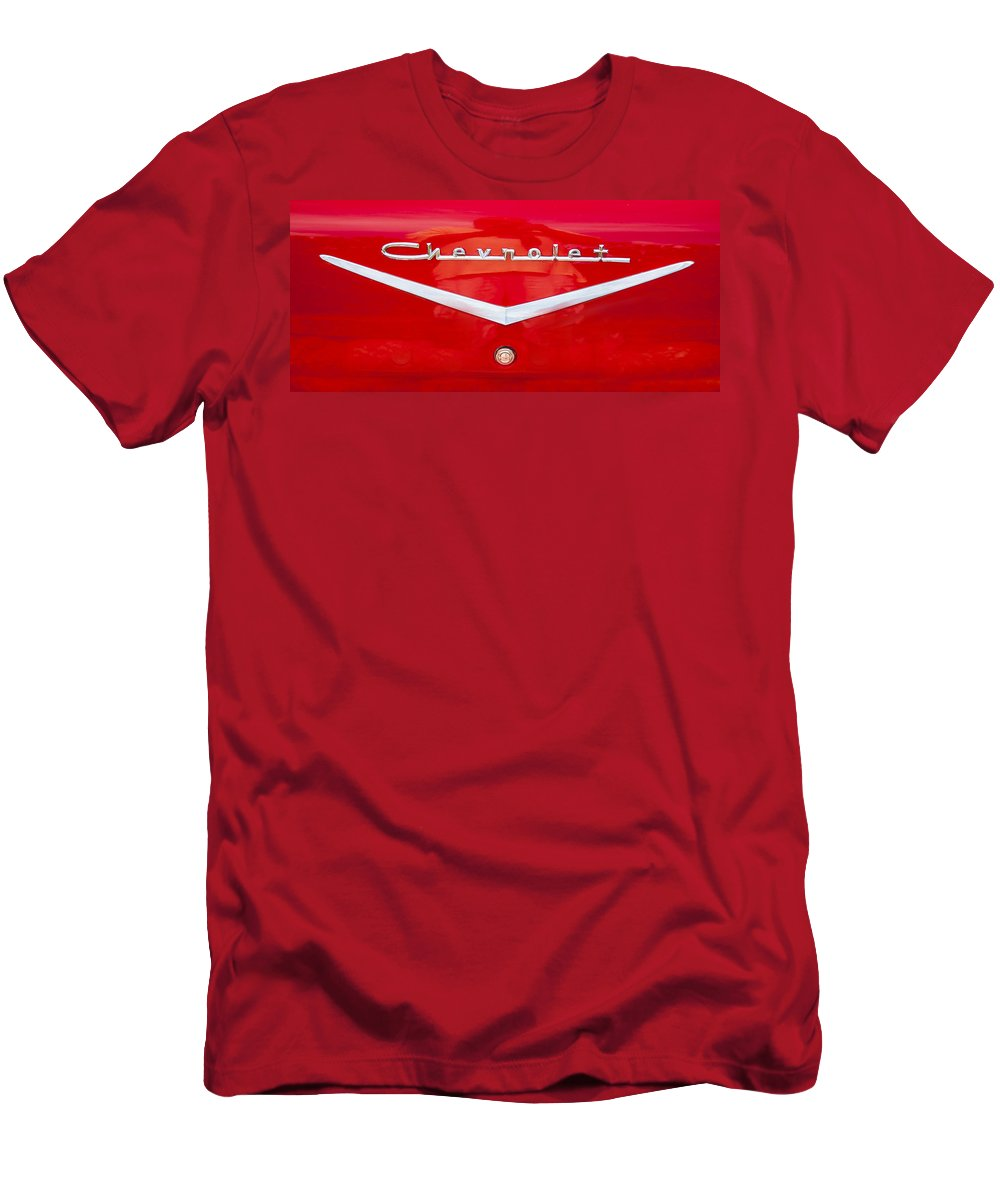 1957 Chevy Men's T-Shirt (Athletic Fit) featuring the photograph Chevy Logo 1957 by Rich Franco