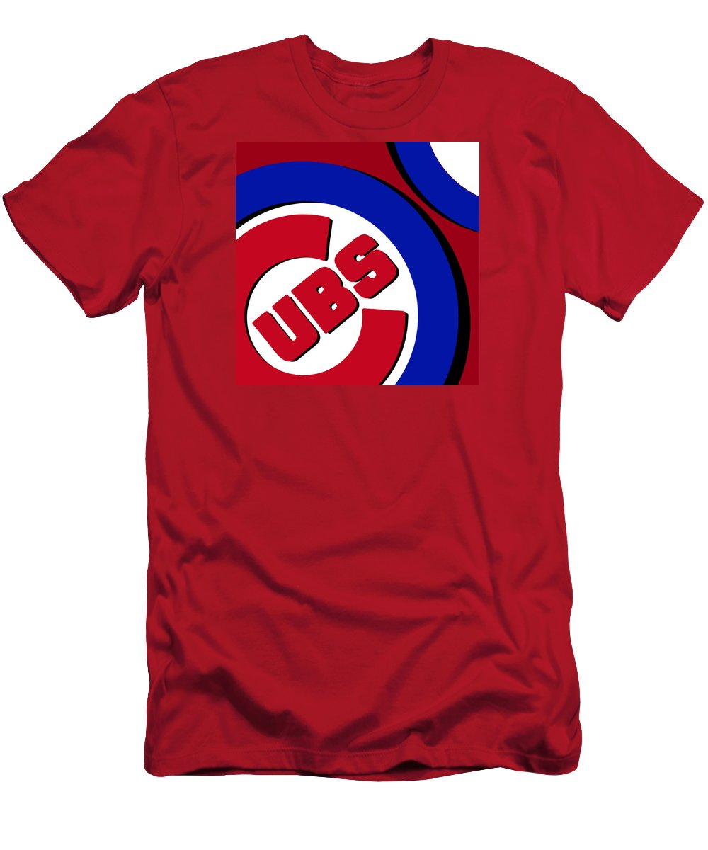 Chicago Men's T-Shirt (Athletic Fit) featuring the painting Chicago Cubs Football by Tony Rubino