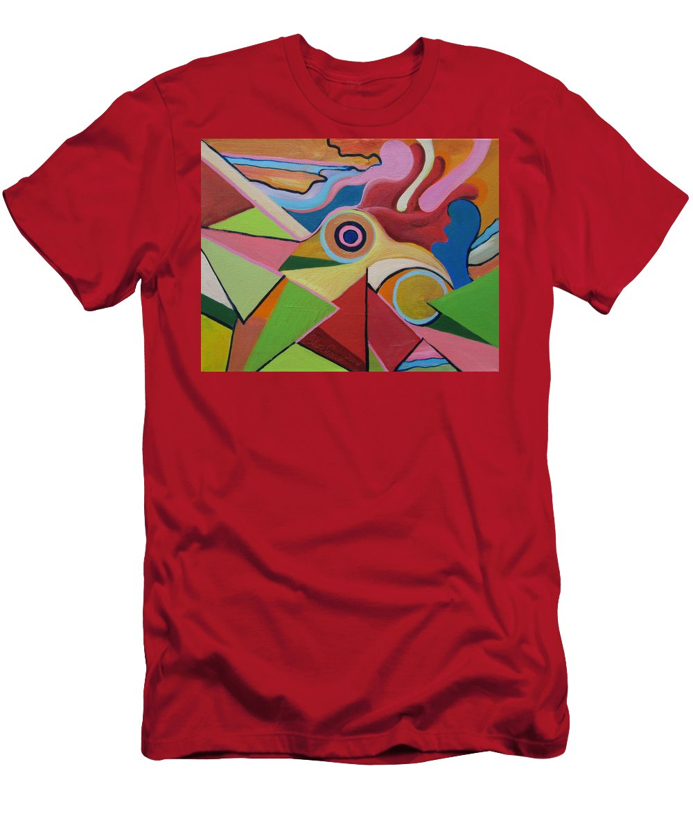 Chicken Men's T-Shirt (Athletic Fit) featuring the painting Chicken Fun Do by Jeff Seaberg