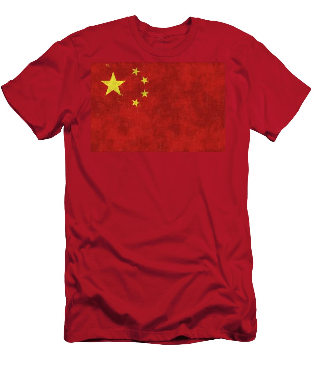 China Men's T-Shirt (Athletic Fit) featuring the digital art China Flag by World Art Prints And Designs