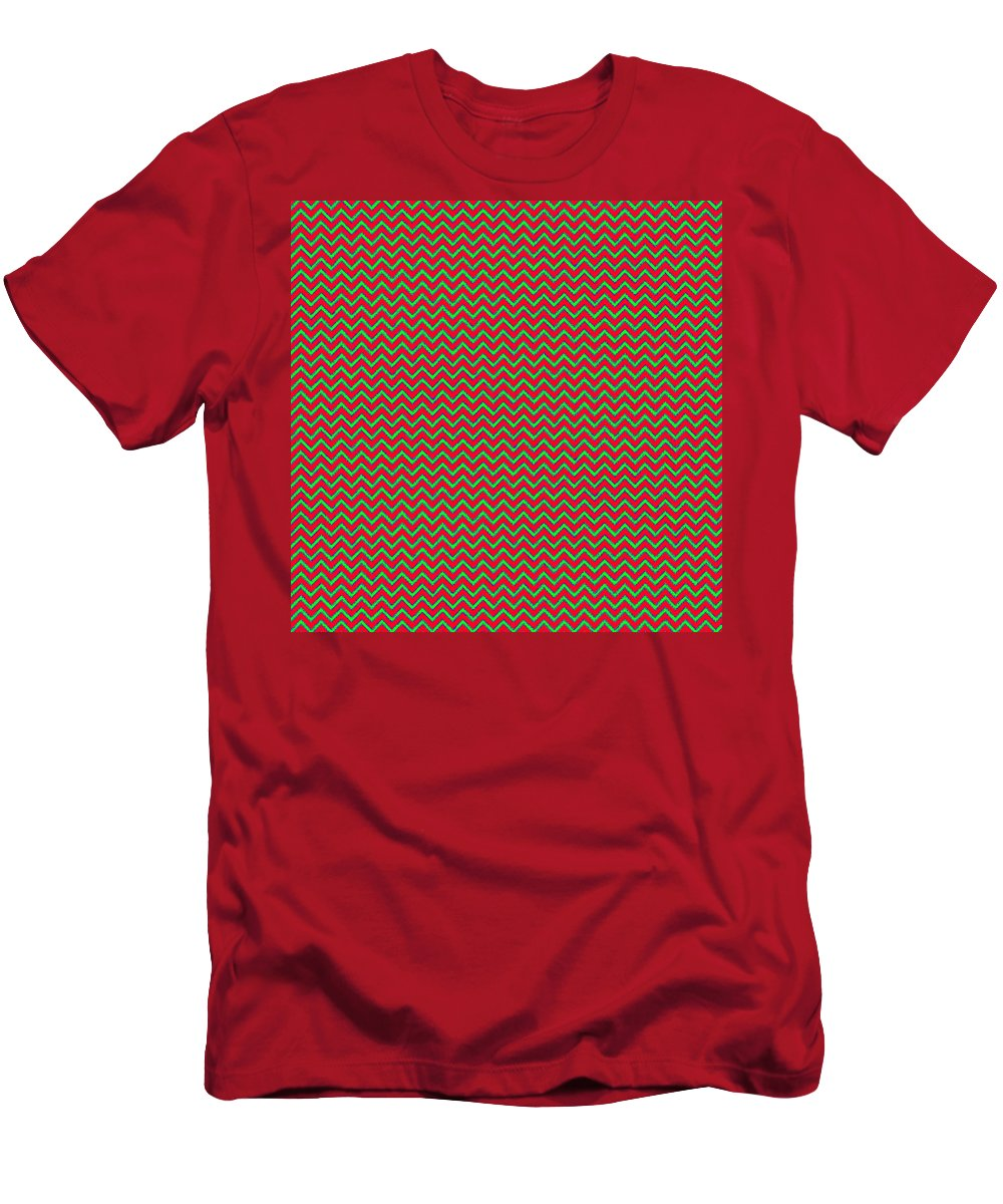 Green Men's T-Shirt (Athletic Fit) featuring the digital art Christmas Colors Chevron by Cassie Peters