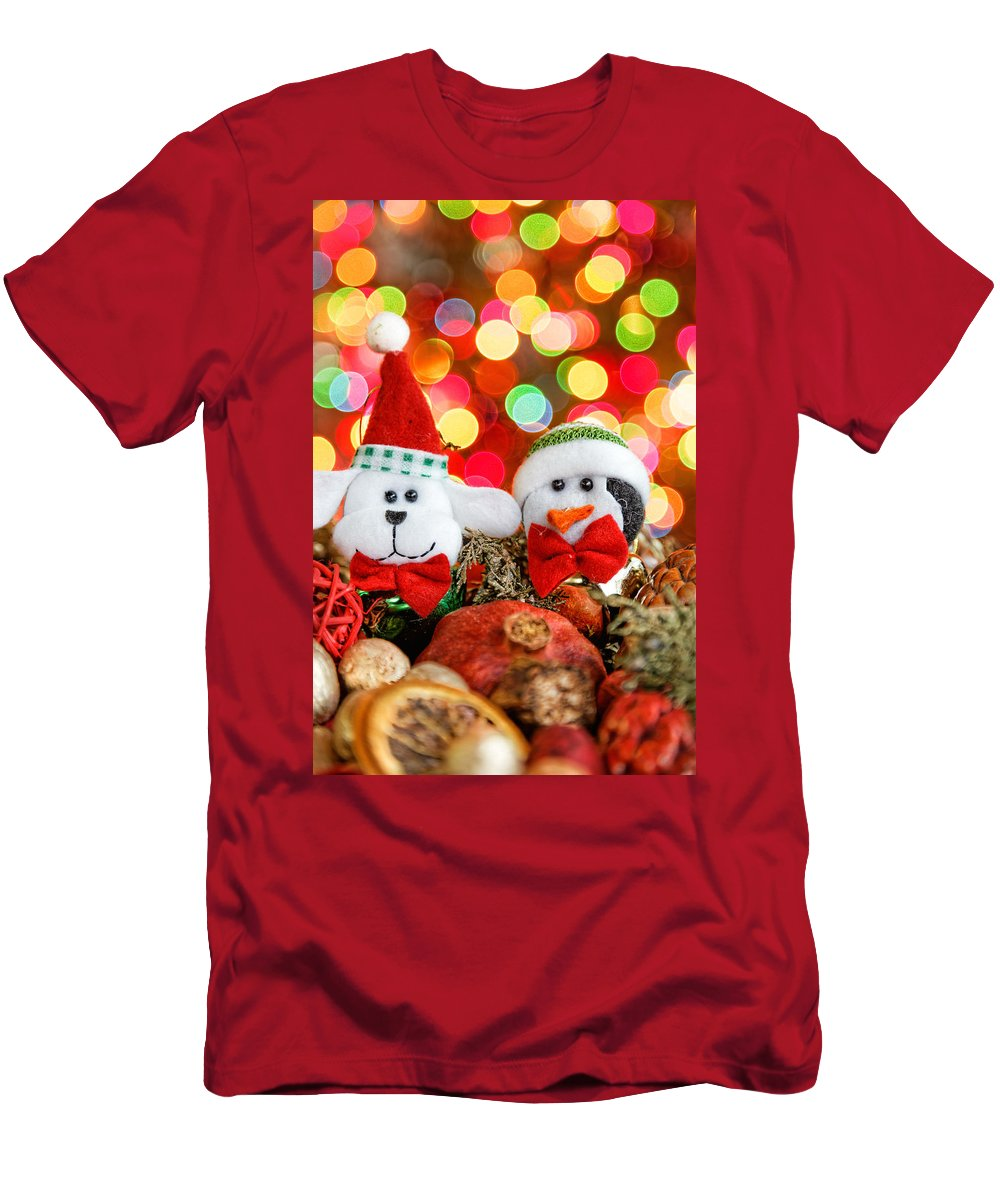 Background Men's T-Shirt (Athletic Fit) featuring the photograph Christmas Dog And Penguin by Peter Lakomy