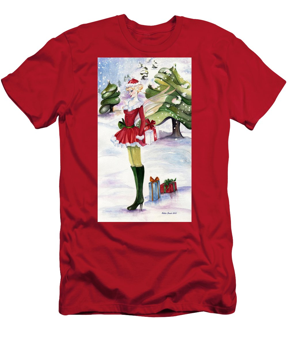 Snow-scape Men's T-Shirt (Athletic Fit) featuring the painting Christmas Fantasy by Nadine Dennis