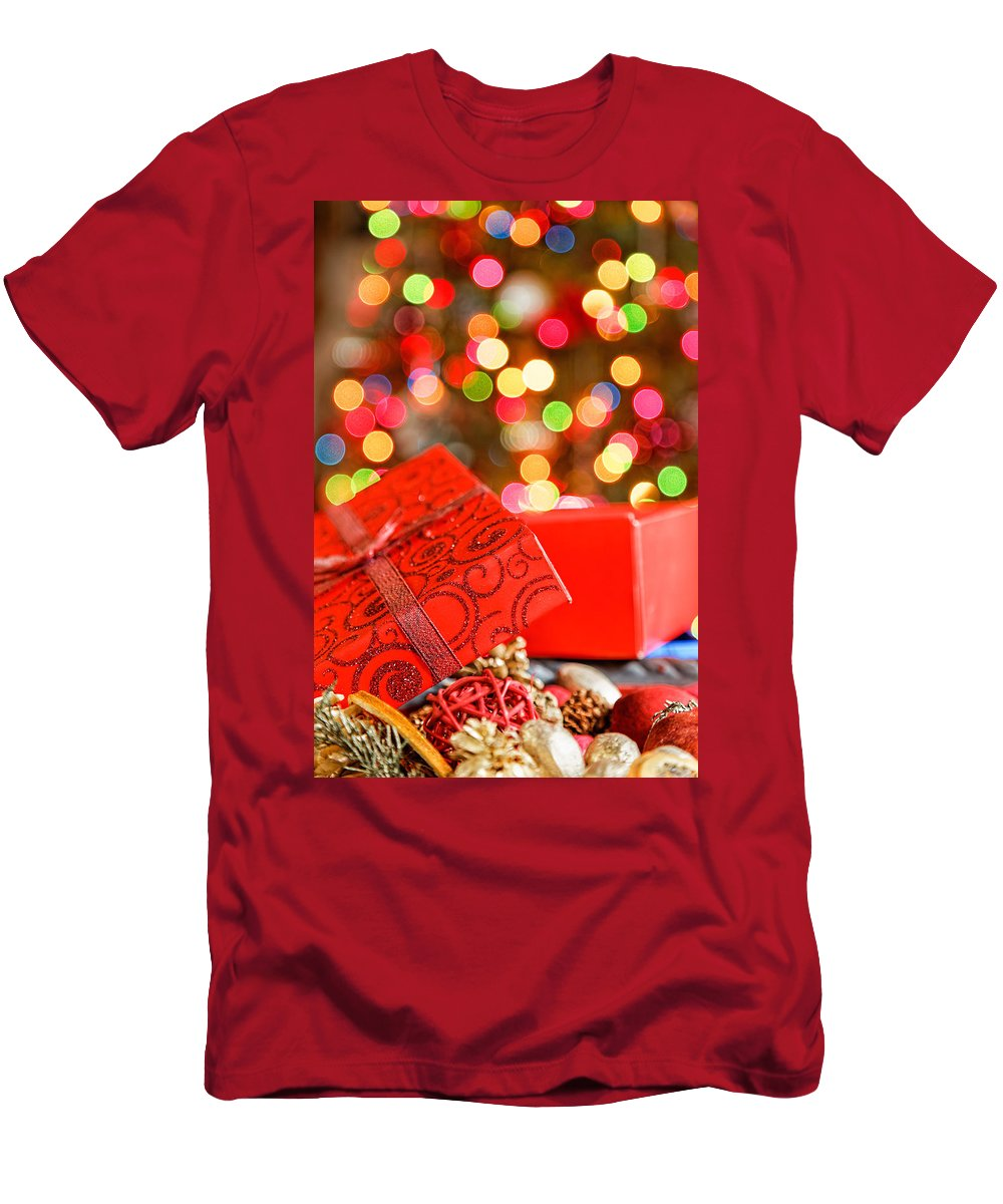 Background Men's T-Shirt (Athletic Fit) featuring the photograph Christmas Lights by Peter Lakomy