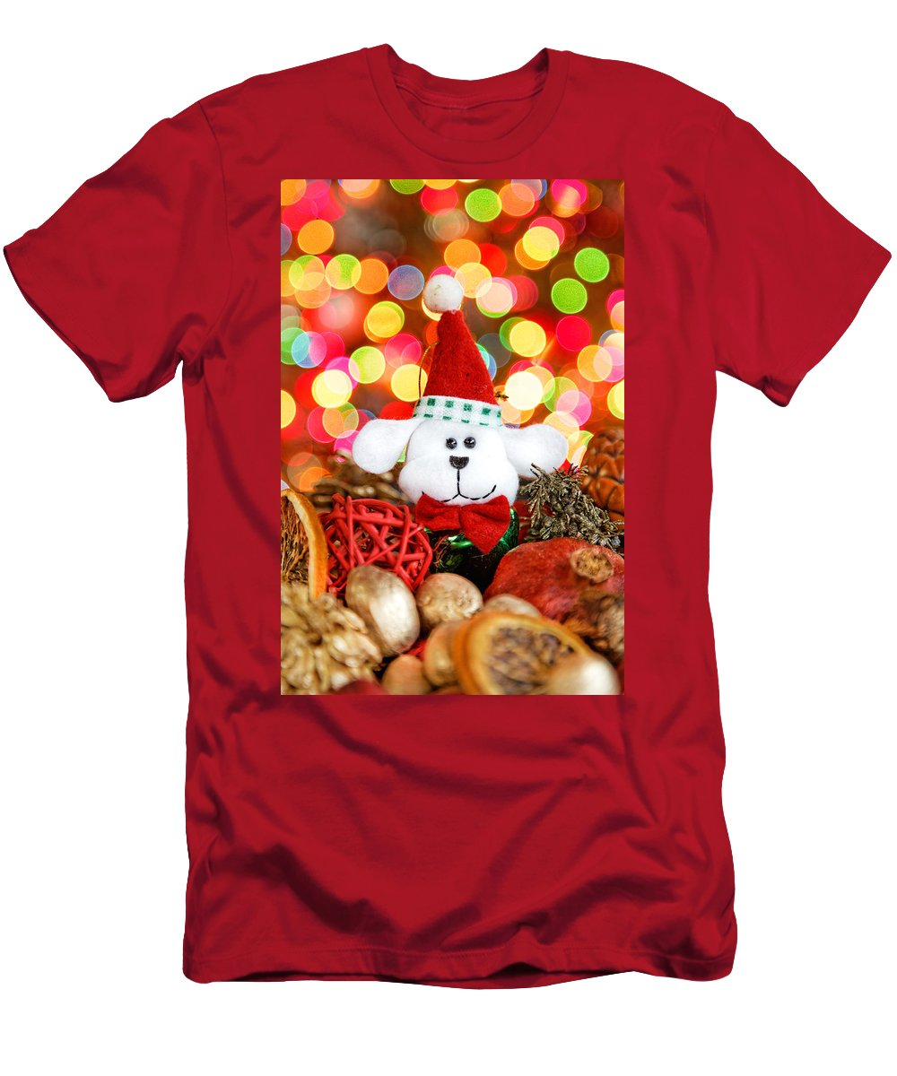 Background Men's T-Shirt (Athletic Fit) featuring the photograph Christmas Puppy by Peter Lakomy