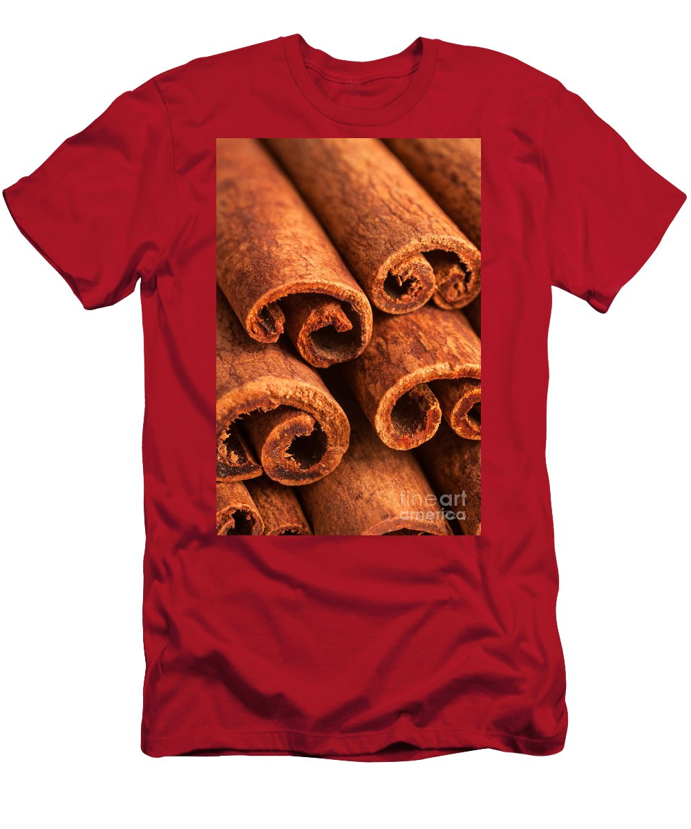 Brown Cinnamon Sticks Men's T-Shirt (Athletic Fit) featuring the photograph Cinnamon - Cinnamomum by Iris Richardson