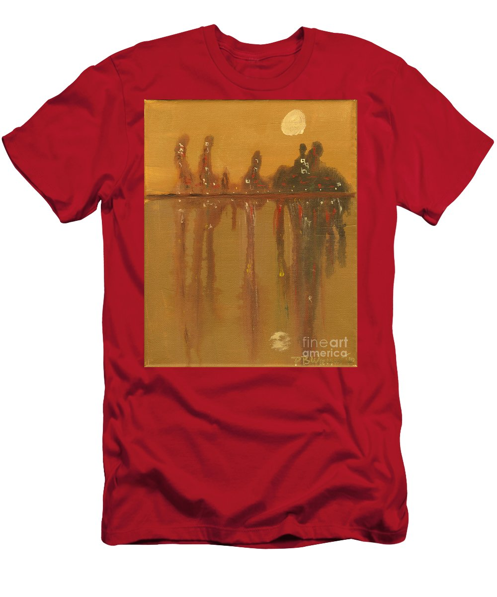 City Men's T-Shirt (Athletic Fit) featuring the painting City Night by Paulette B Wright