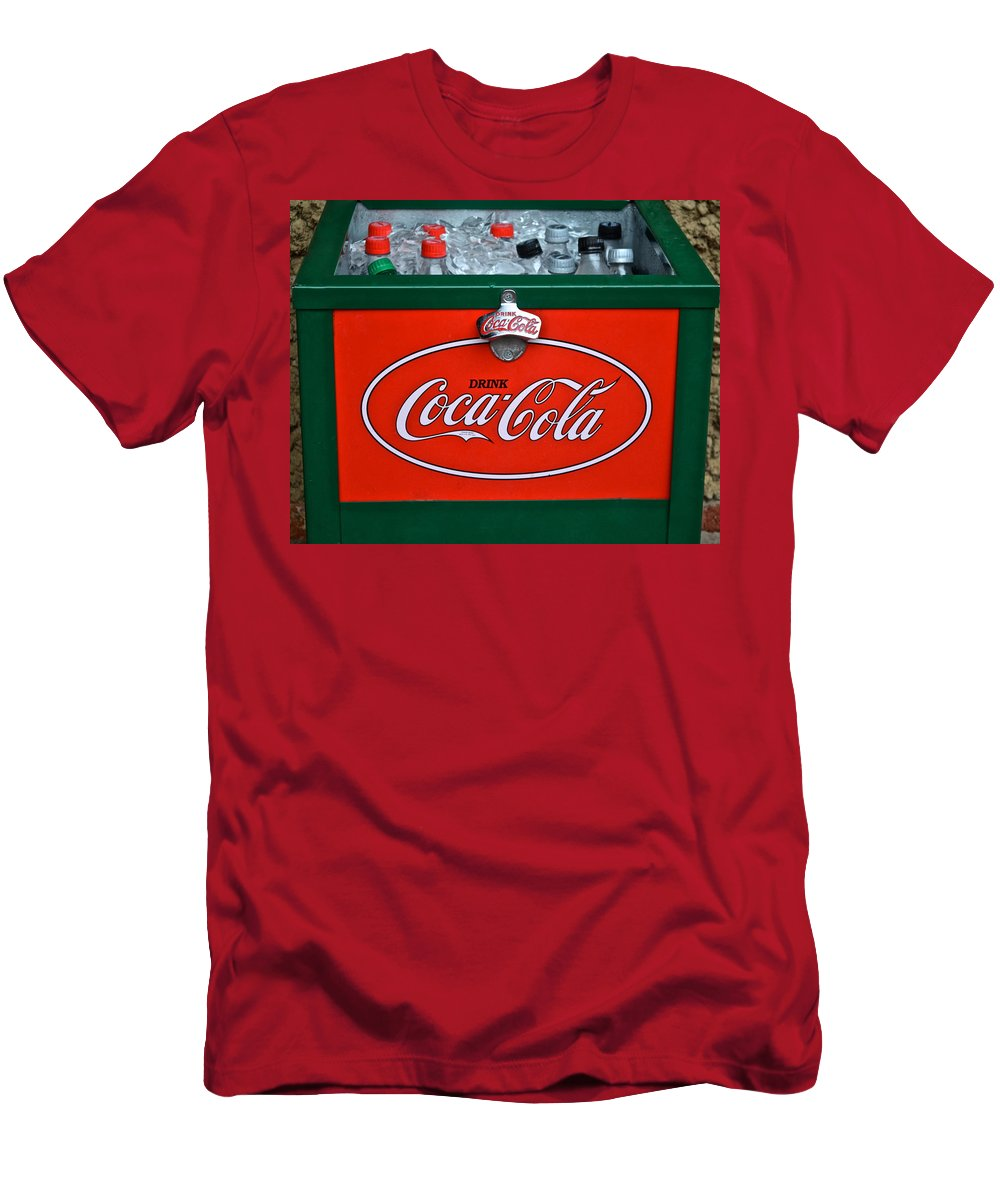 Coca Men's T-Shirt (Athletic Fit) featuring the photograph Coke Cooler by Frozen in Time Fine Art Photography