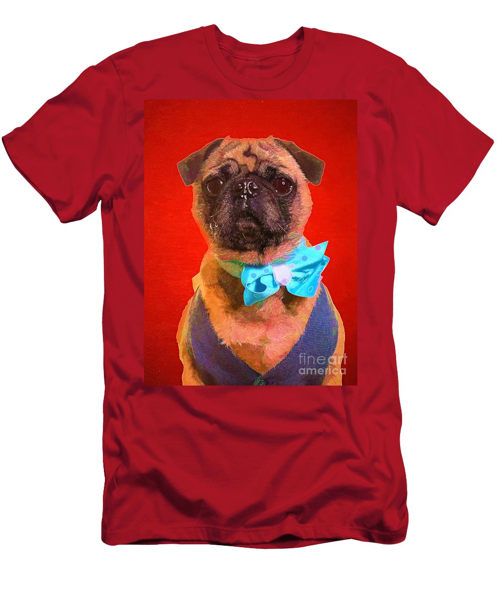 Dog Men's T-Shirt (Athletic Fit) featuring the photograph Colorful Dapper Pug by Edward Fielding