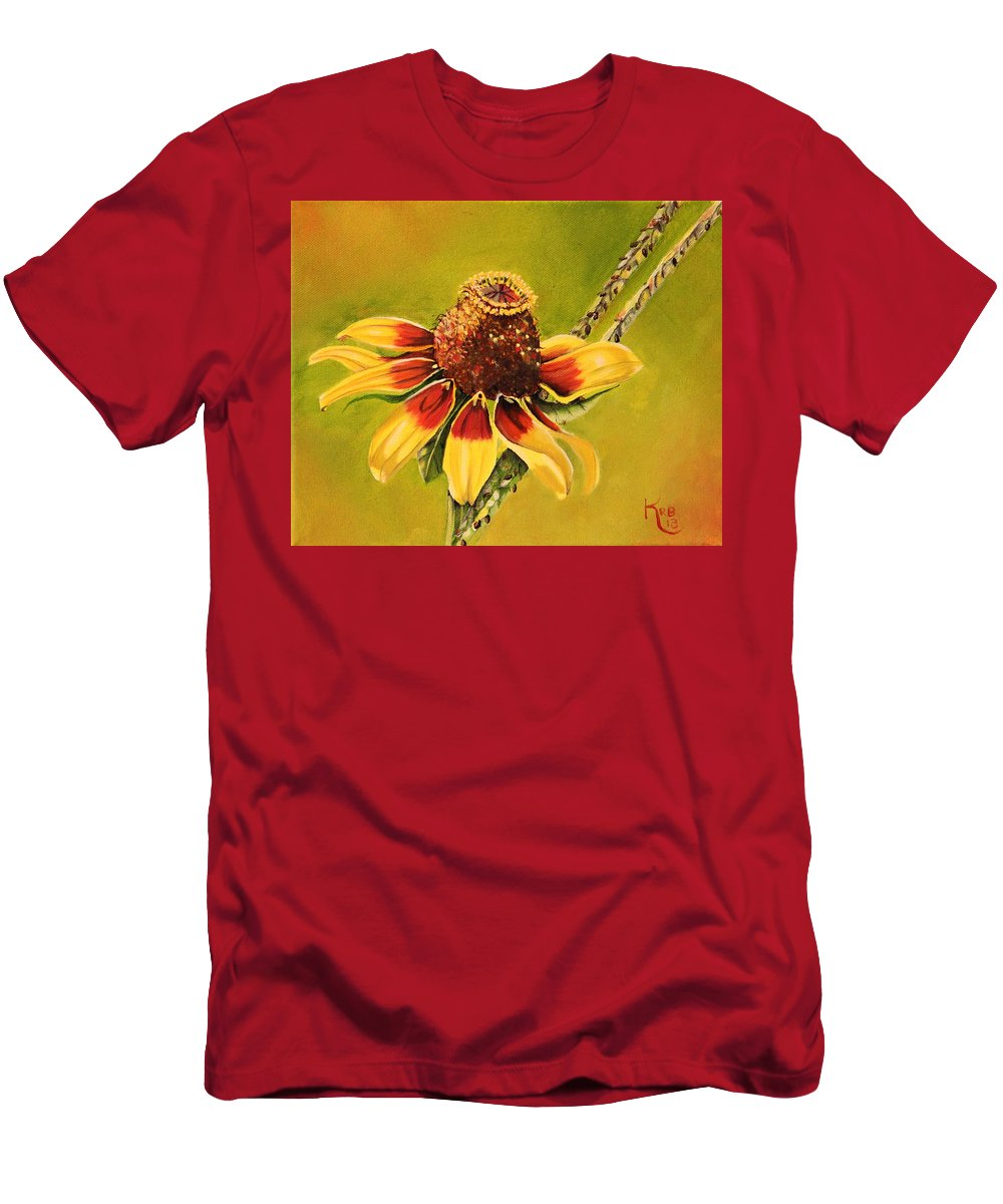 Flower Men's T-Shirt (Athletic Fit) featuring the painting Coloring The Pasture by Karen Beasley