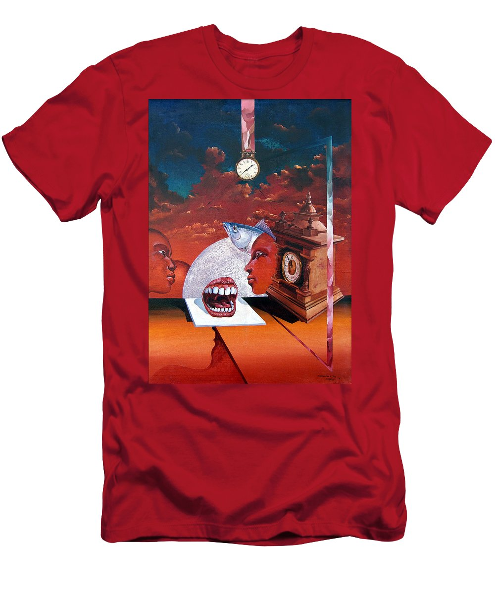 Otto+rapp Surrealism Surreal Fantasy Time Clocks Watch Consumption Men's T-Shirt (Athletic Fit) featuring the painting Consumption Of Time by Otto Rapp