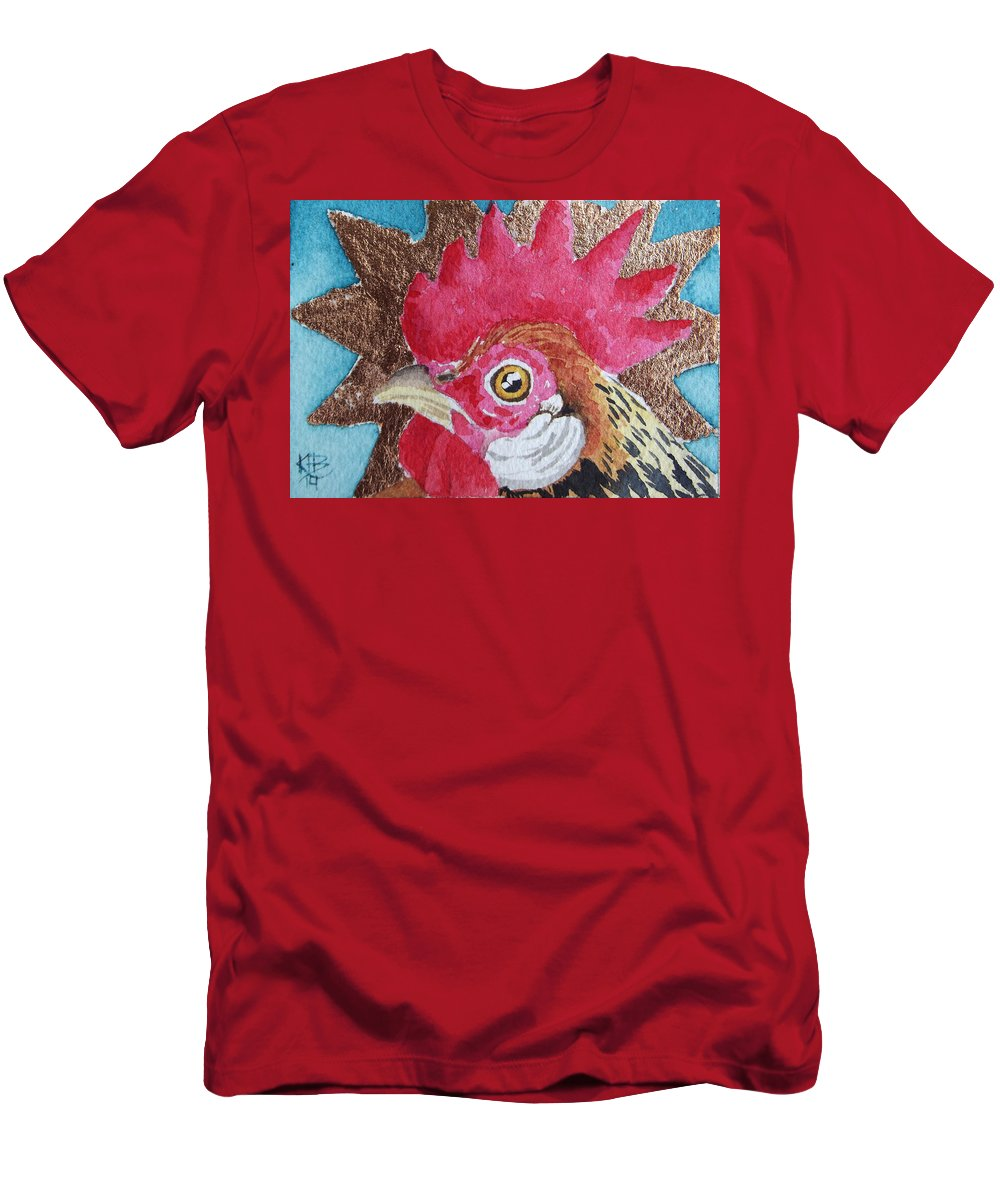 Chicken Art Men's T-Shirt (Athletic Fit) featuring the painting Copper Nugget by Kirsten Beitler