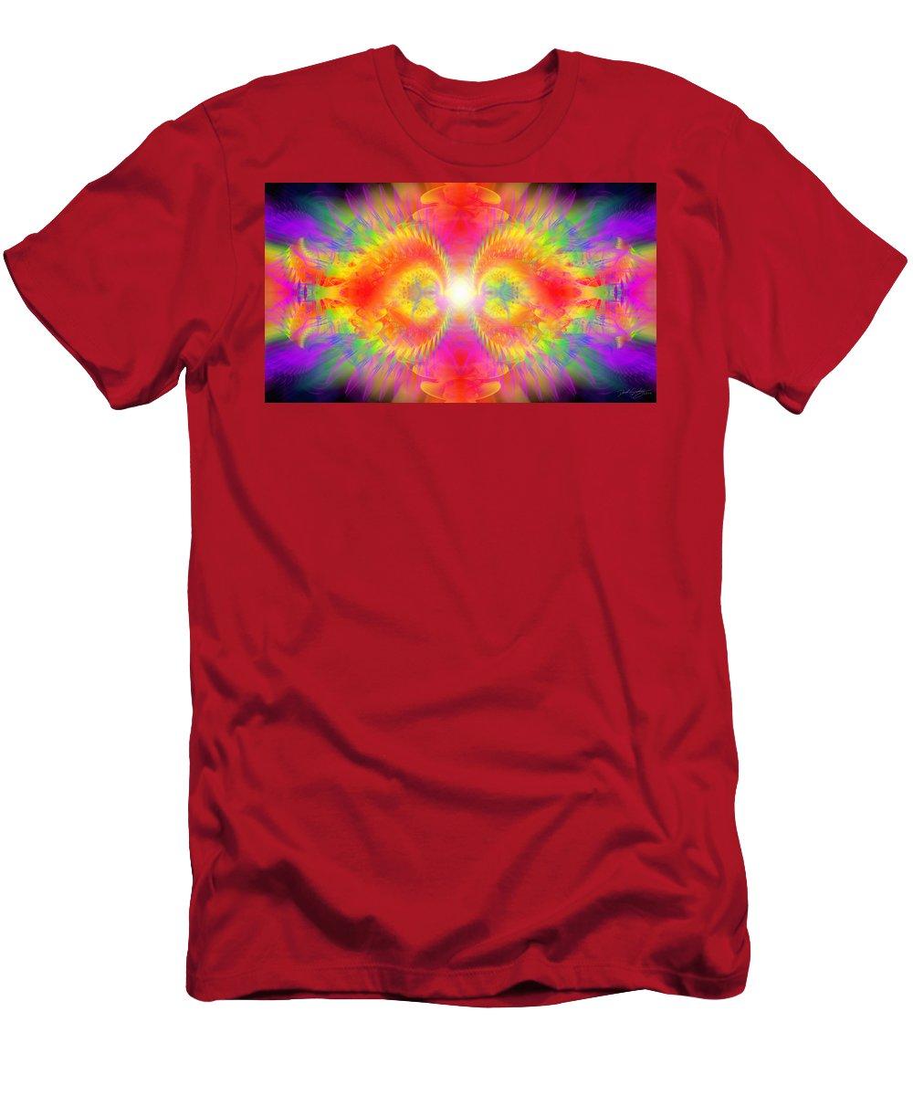 Cosmic Spiral Ascension Men's T-Shirt (Athletic Fit) featuring the digital art Cosmic Spiral Ascension 02 by Derek Gedney