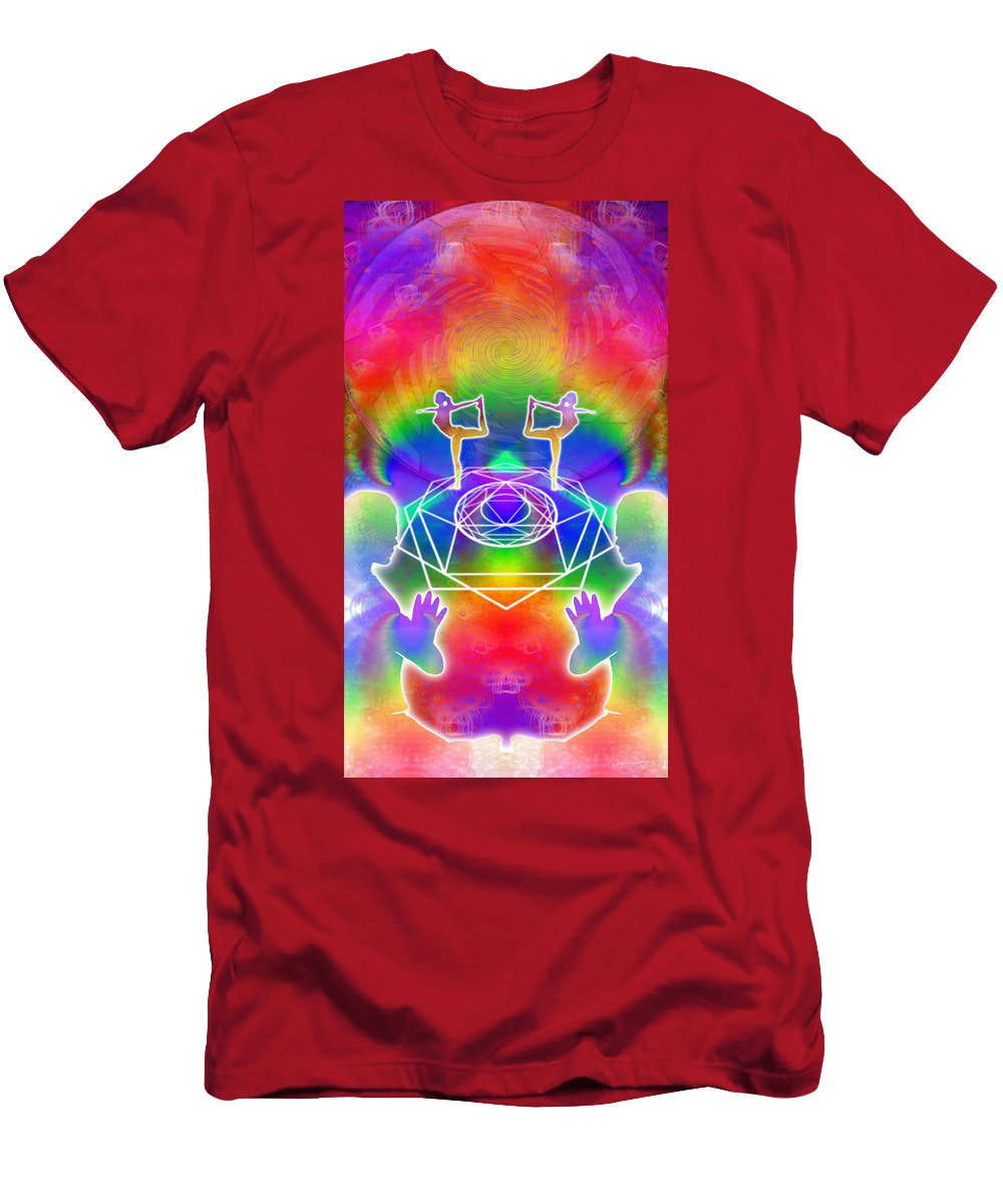 Cosmic Spiral Ascension Men's T-Shirt (Athletic Fit) featuring the digital art Cosmic Spiral Ascension 17 by Derek Gedney