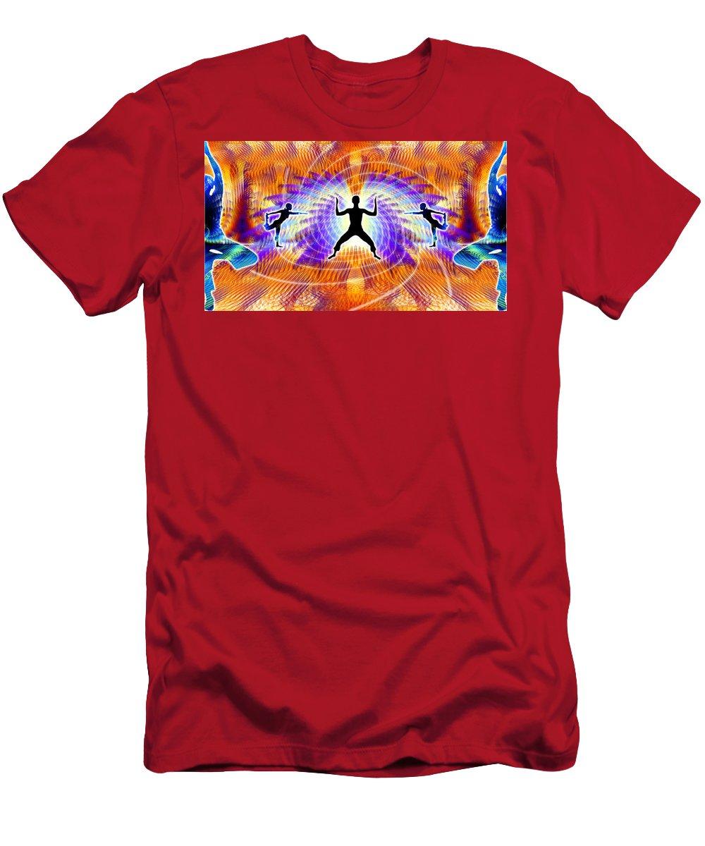 Cosmic Spiral Ascension Men's T-Shirt (Athletic Fit) featuring the digital art Cosmic Spiral Ascension 19 by Derek Gedney