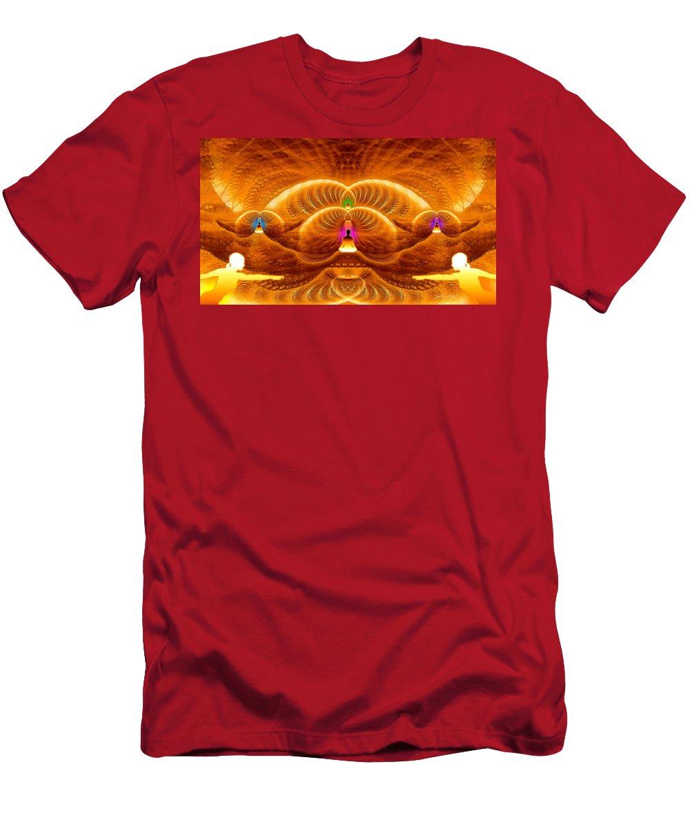 Cosmic Spiral Ascension Men's T-Shirt (Athletic Fit) featuring the digital art Cosmic Spiral Ascension 33 by Derek Gedney
