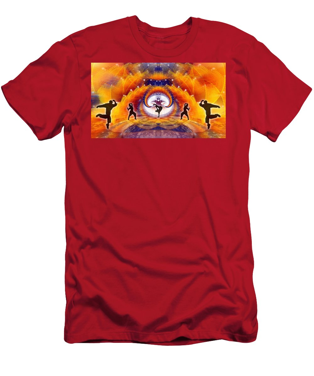 Cosmic Spiral Ascension Men's T-Shirt (Athletic Fit) featuring the digital art Cosmic Spiral Ascension 54 by Derek Gedney