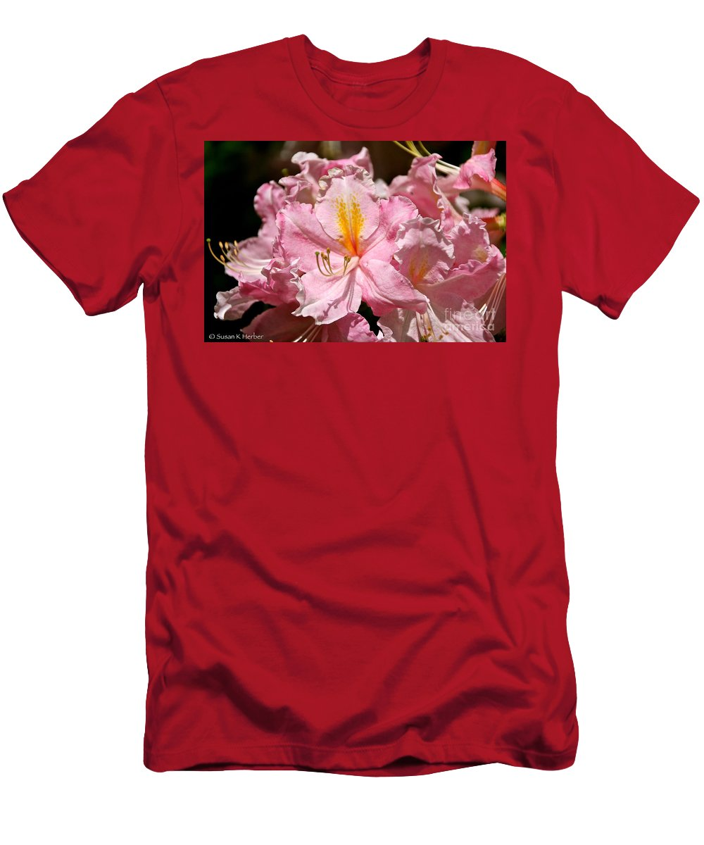 Flower Men's T-Shirt (Athletic Fit) featuring the photograph Cotton Candy Azalea by Susan Herber