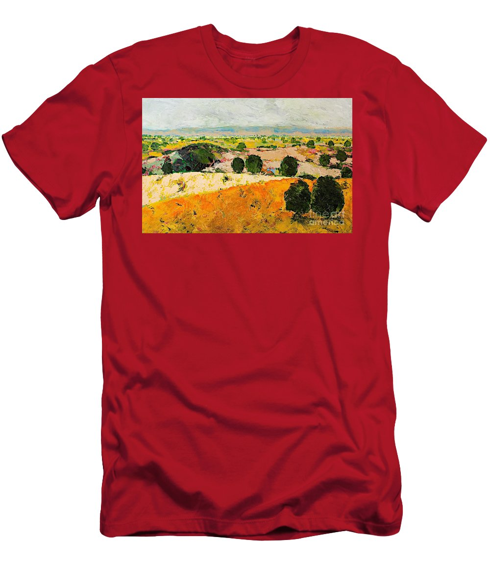 Landscape Men's T-Shirt (Athletic Fit) featuring the painting Crossing Paradise by Allan P Friedlander