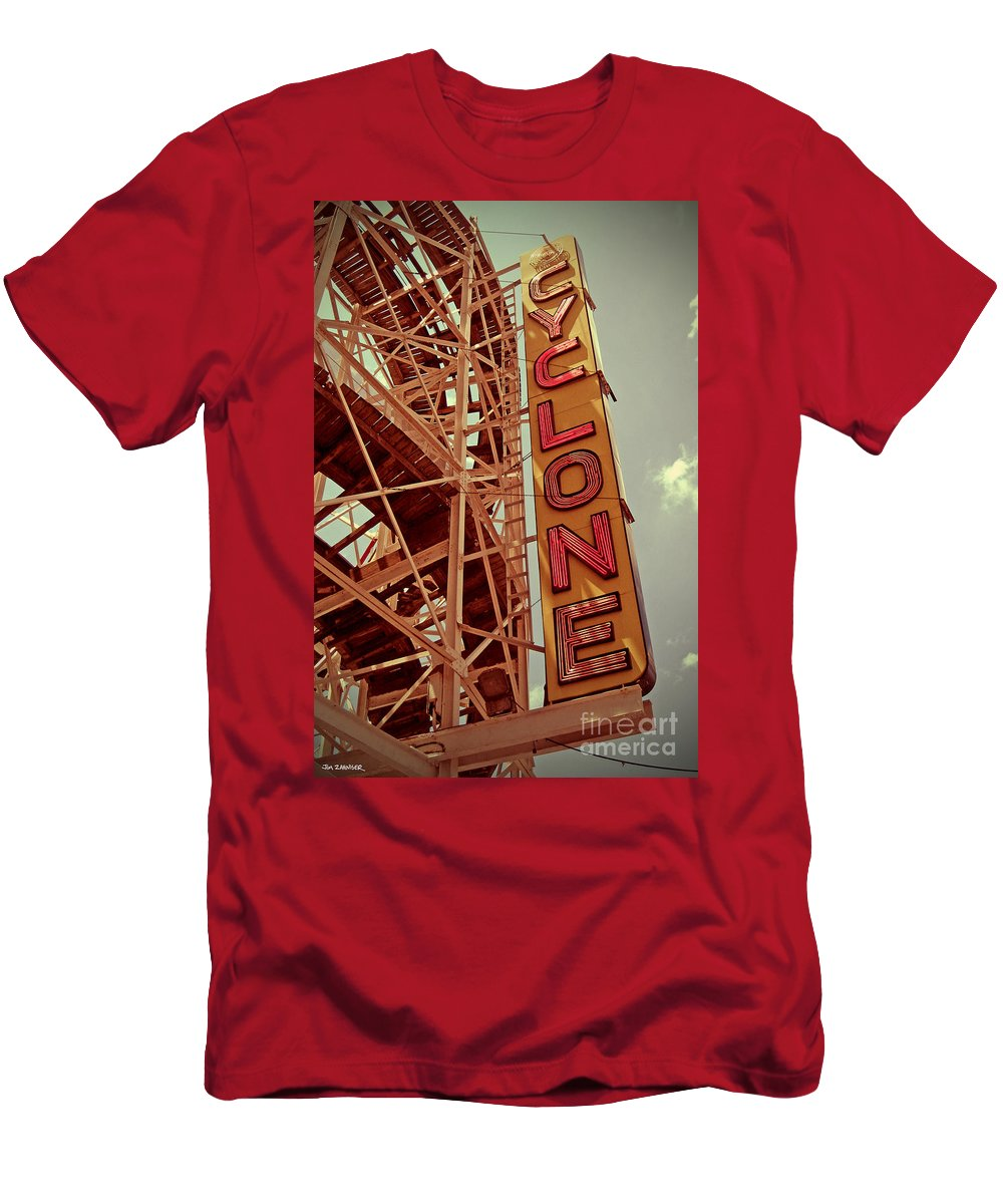 Cyclone Men's T-Shirt (Athletic Fit) featuring the digital art Cyclone Roller Coaster - Coney Island by Jim Zahniser