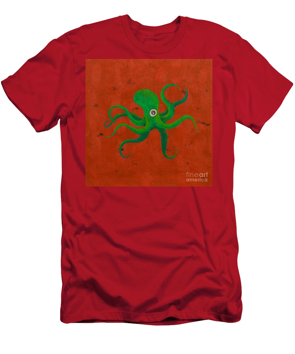 Men's T-Shirt (Athletic Fit) featuring the painting Cycloptopus Red by Stefanie Forck