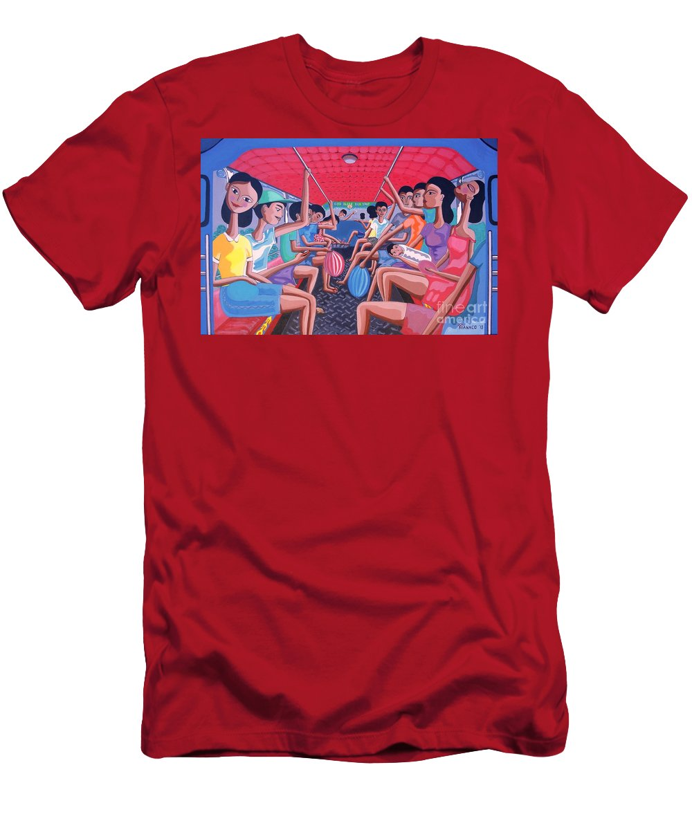 Jeepney Men's T-Shirt (Athletic Fit) featuring the painting Dalawa Nalang Aalis Na by Ferdz Manaco