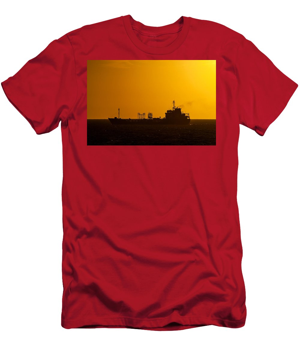 Boat Men's T-Shirt (Athletic Fit) featuring the photograph Dark Boat Silhouette At Sunset by Jess Kraft