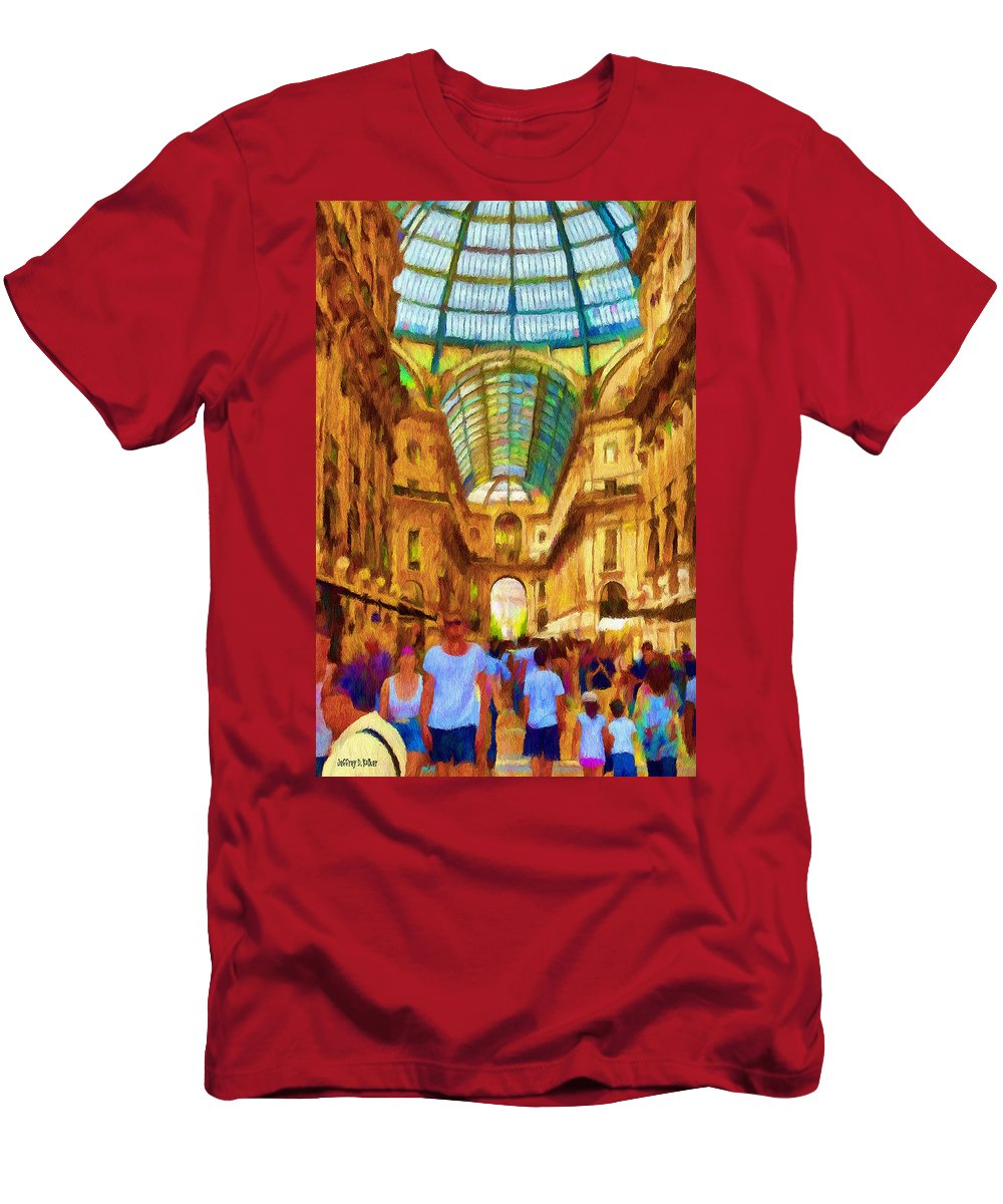 Galleria Men's T-Shirt (Athletic Fit) featuring the painting Day At The Galleria by Jeffrey Kolker