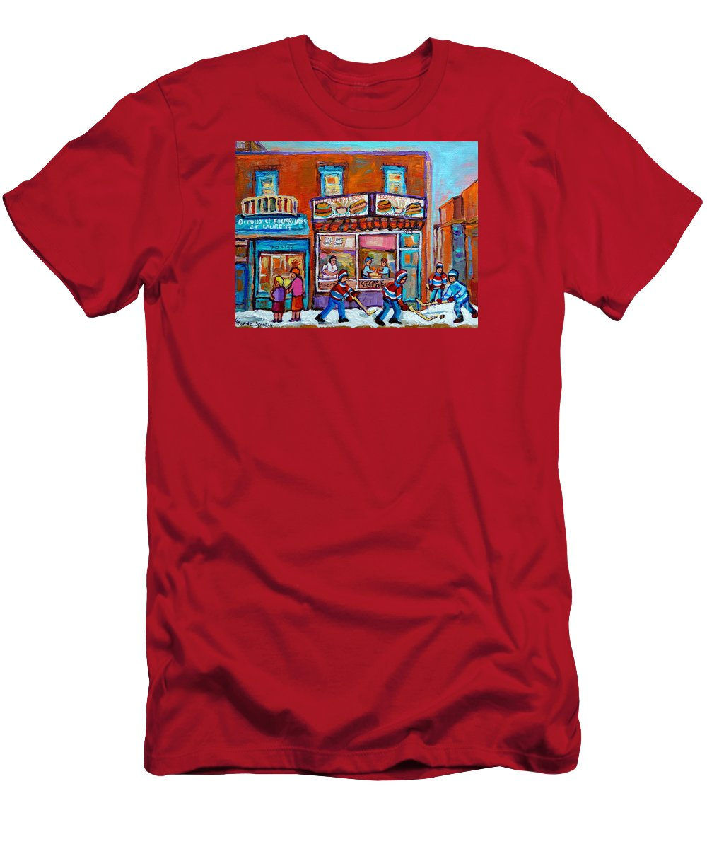 Montreal T-Shirt featuring the painting Decarie Hot Dog Restaurant Ville St. Laurent Montreal by Carole Spandau