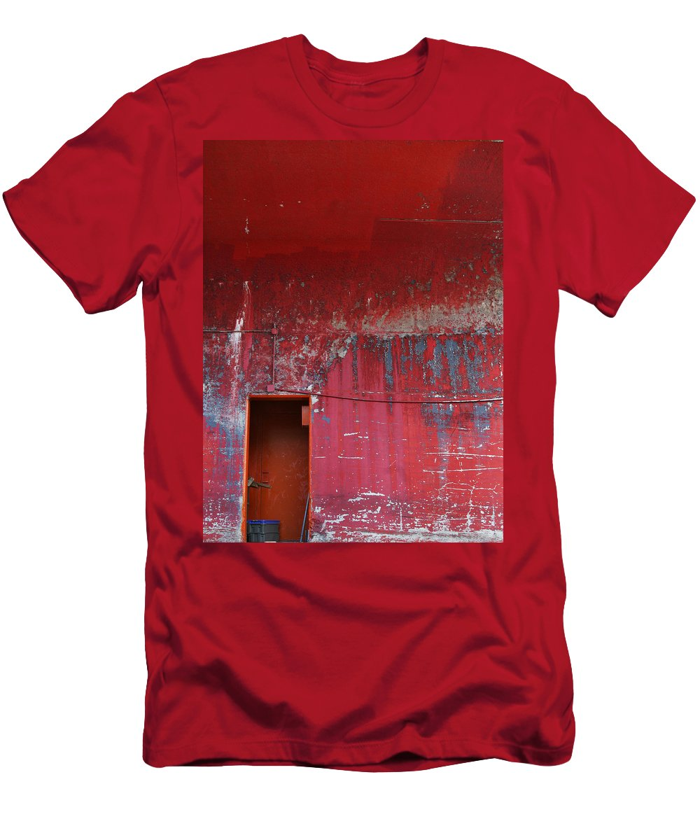 Brooklyn Navy Yard Men's T-Shirt (Athletic Fit) featuring the photograph Decrepit Color by Rosie McCobb