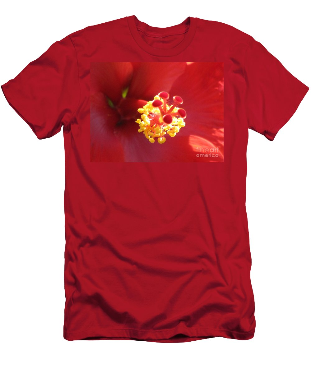 Red Men's T-Shirt (Athletic Fit) featuring the photograph Delicate Hibiscus by Keri West