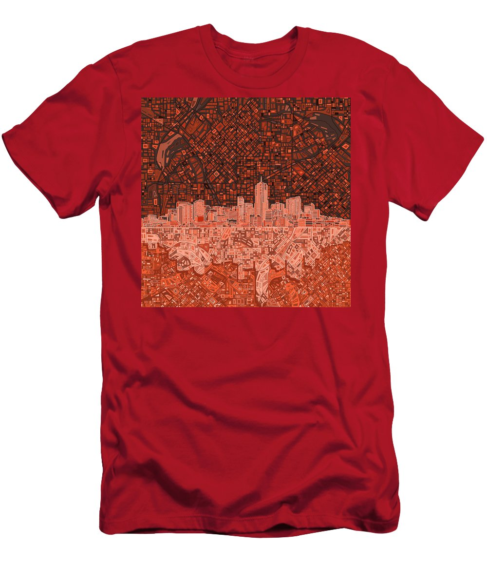 Denver Skyline Men's T-Shirt (Athletic Fit) featuring the painting Denver Skyline Abstract 6 by Bekim M