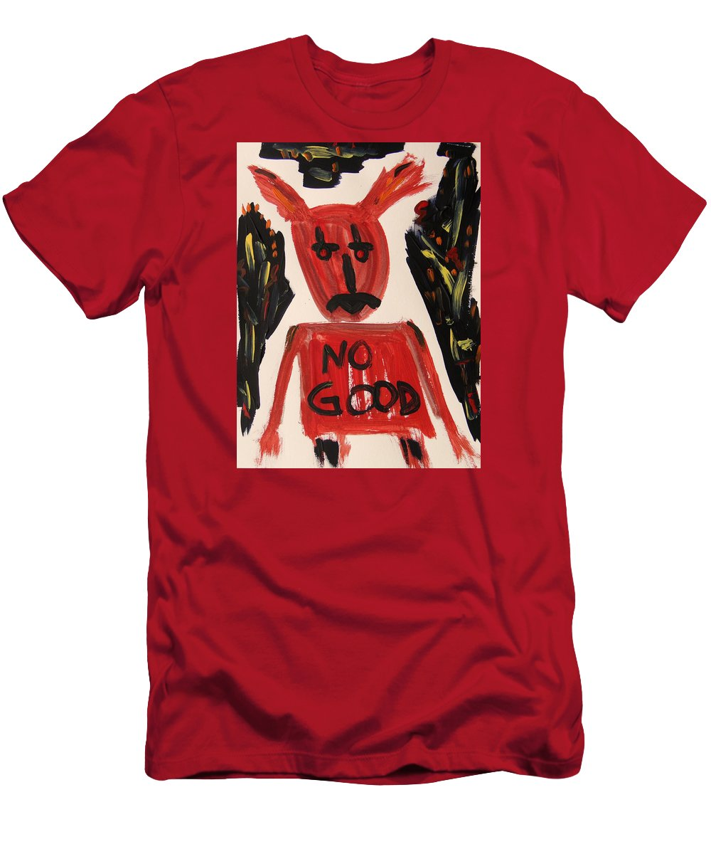Mcw Men's T-Shirt (Athletic Fit) featuring the painting devil with NO GOOD tee shirt by Mary Carol Williams