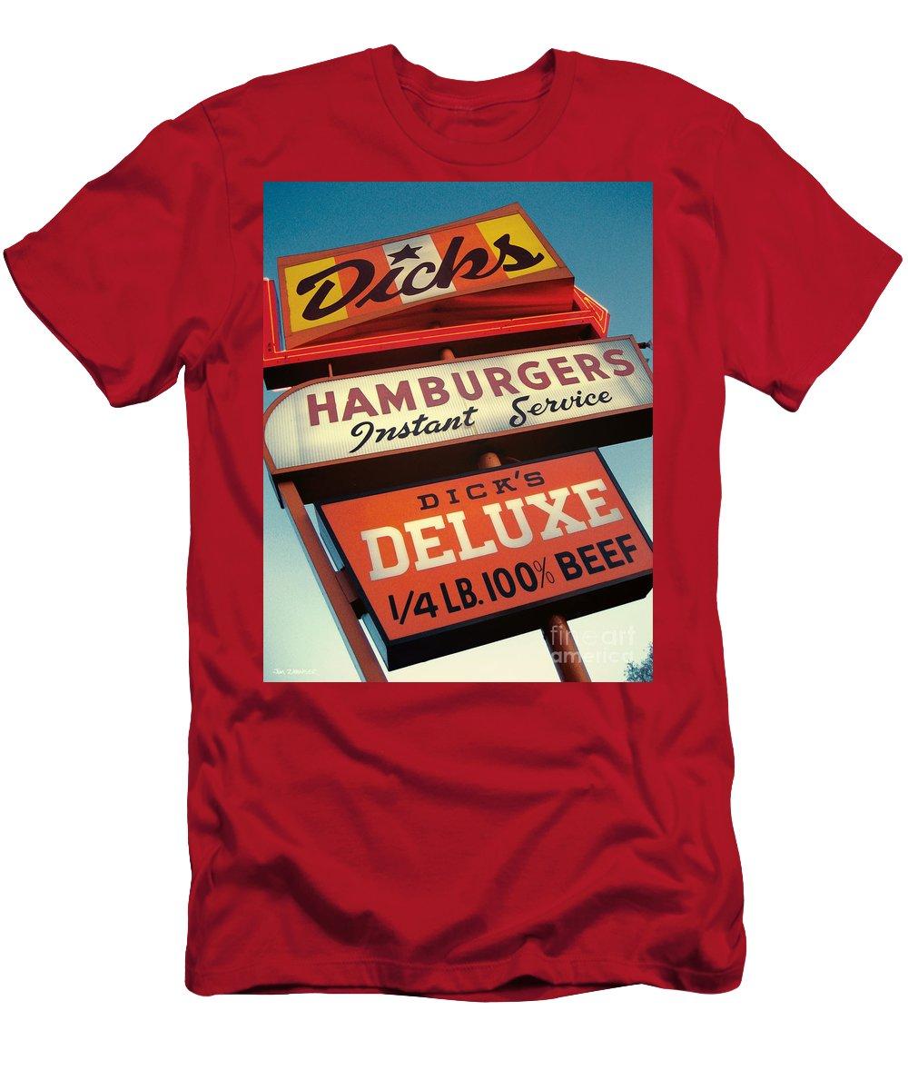 Burgers T-Shirt featuring the digital art Dick's Hamburgers by Jim Zahniser