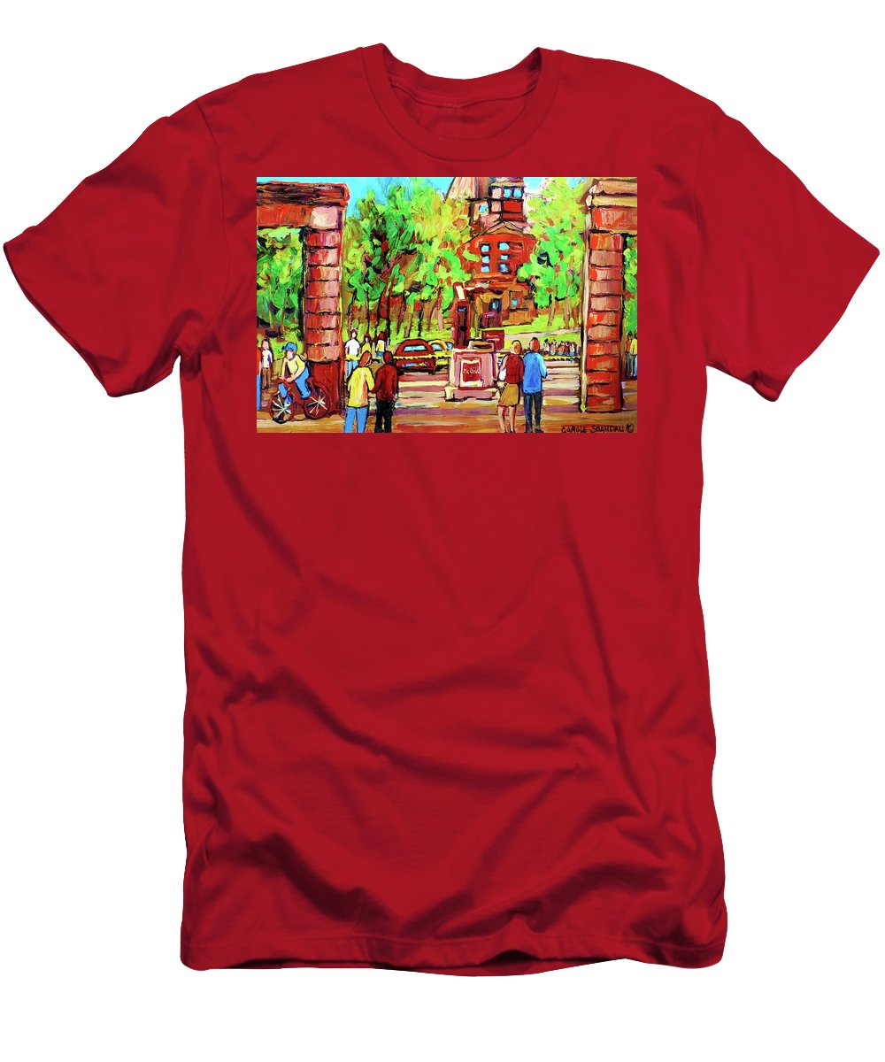 Montreal Men's T-Shirt (Athletic Fit) featuring the painting Downtown Montreal Mcgill University Streetscenes by Carole Spandau
