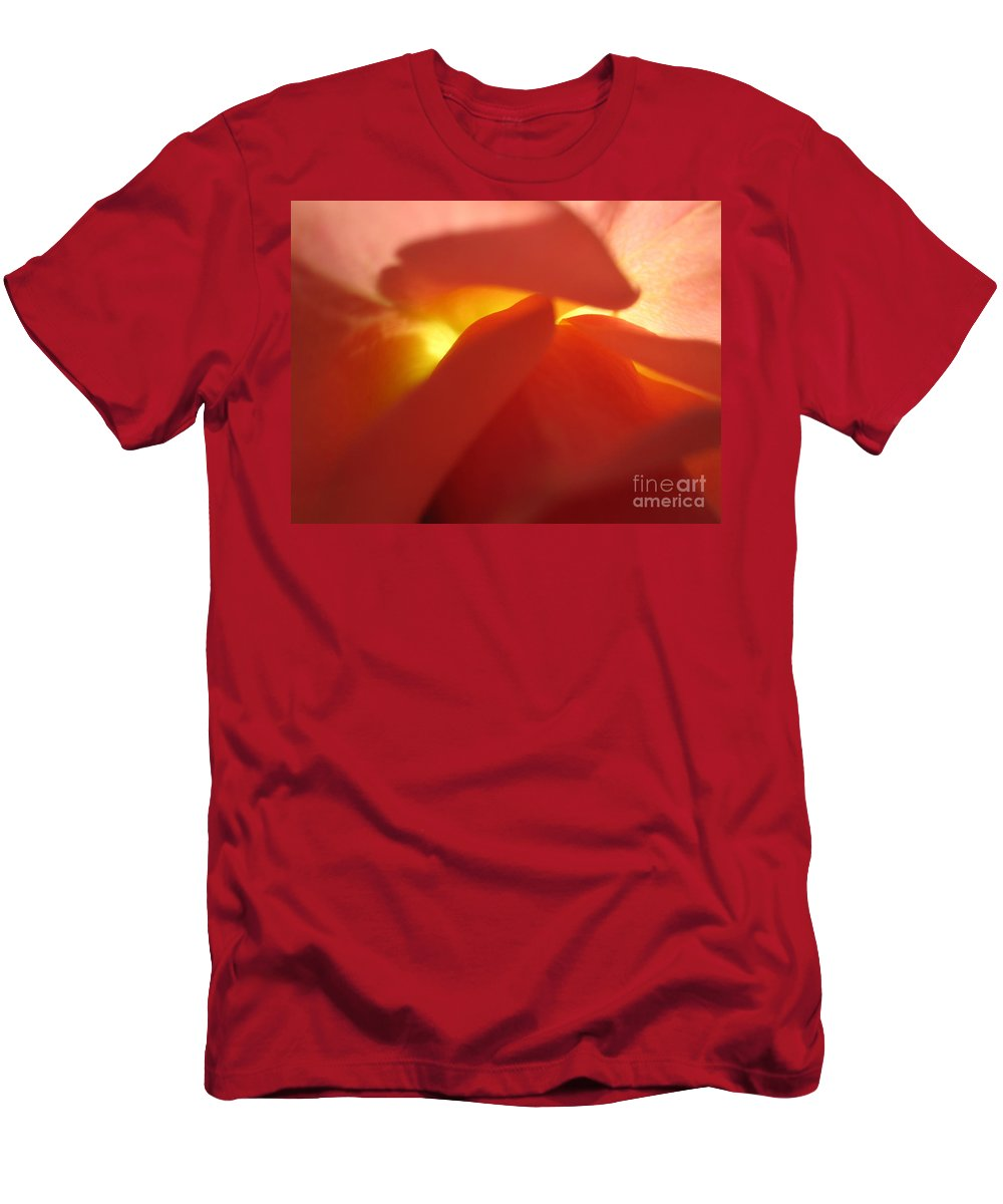 Floral Men's T-Shirt (Athletic Fit) featuring the photograph Glowing Orange Rose 2 by Tara Shalton