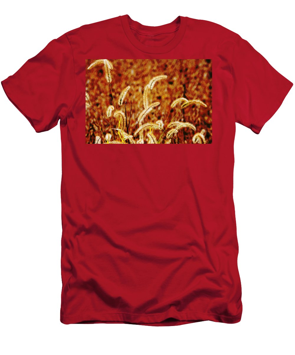 Grass Men's T-Shirt (Athletic Fit) featuring the photograph Dry Grass by Alexey Stiop