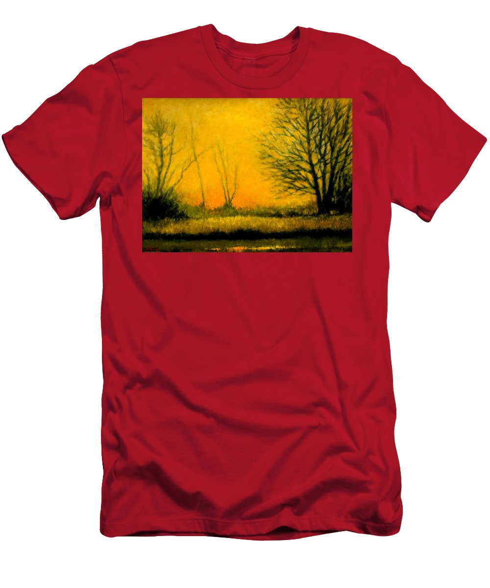 Landscape Men's T-Shirt (Athletic Fit) featuring the painting Dusk At The Refuge by Jim Gola