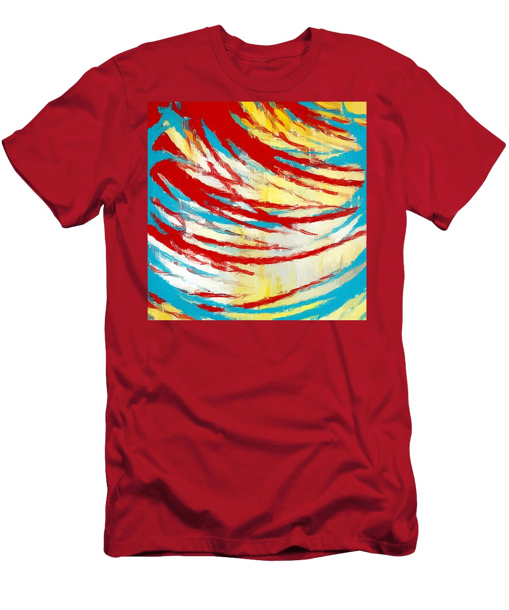 Yellow Men's T-Shirt (Athletic Fit) featuring the painting Eclectic Rays by Lourry Legarde