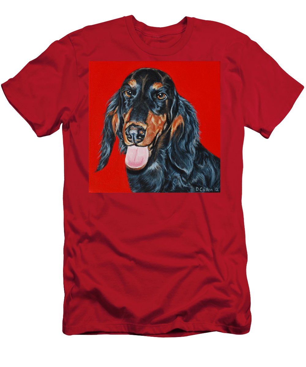 Dachshund Painting Men's T-Shirt (Athletic Fit) featuring the painting Elroy by Deborah Cullen