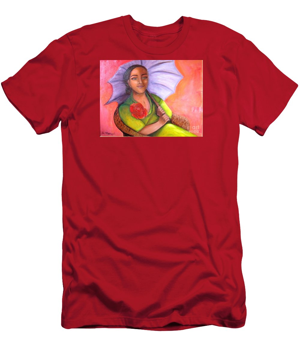 Rose T-Shirt featuring the painting Enchanted Rose by Laurie Morgan