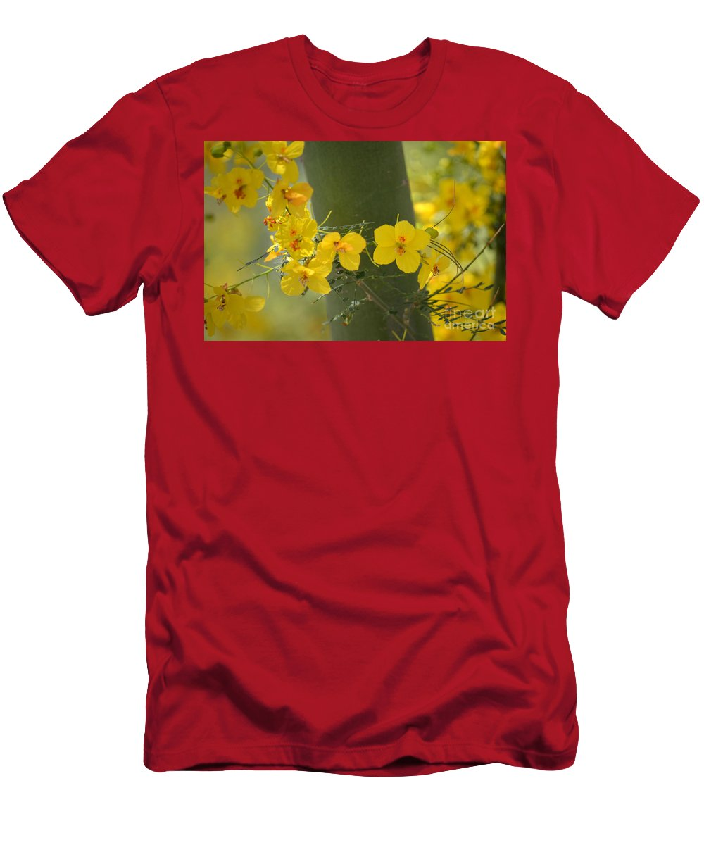 Yellow Flowers Men's T-Shirt (Athletic Fit) featuring the photograph Enchantment by Deb Halloran