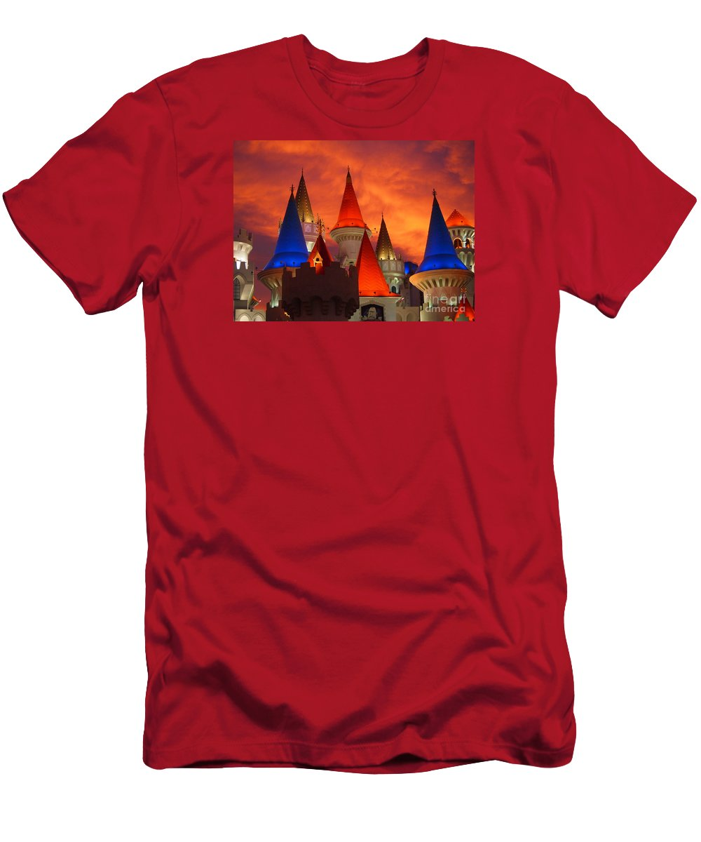 Excalibur Hotel Men's T-Shirt (Athletic Fit) featuring the photograph Excalibur Hotel Las Vegas Sunset by Jennifer Craft