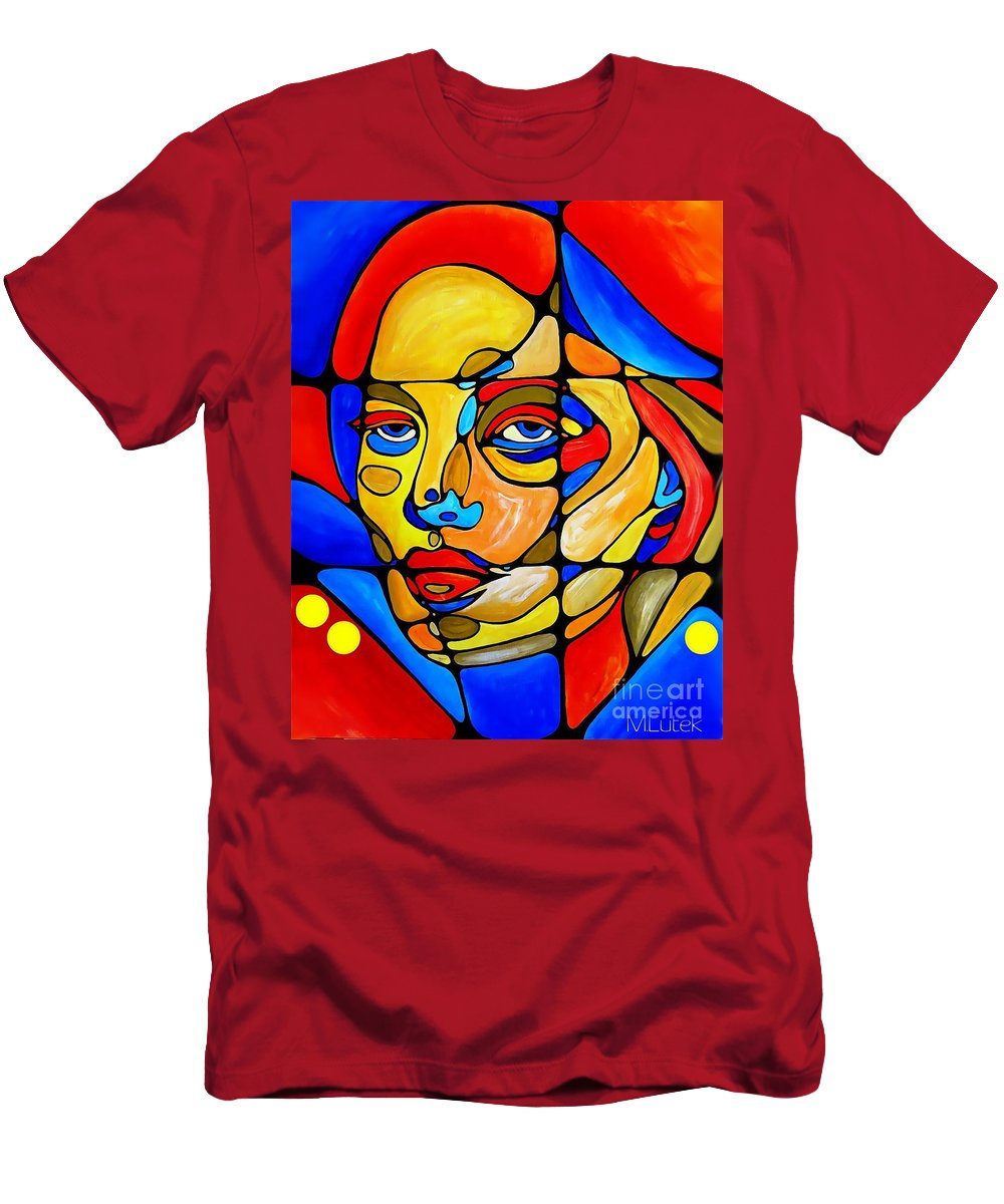 Graphic Men's T-Shirt (Athletic Fit) featuring the painting Face 742 by Marek Lutek