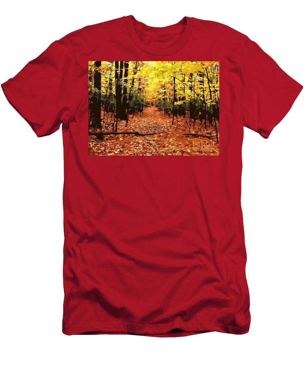 Fall Men's T-Shirt (Athletic Fit) featuring the photograph Fall Path by Jefferson Hobbs