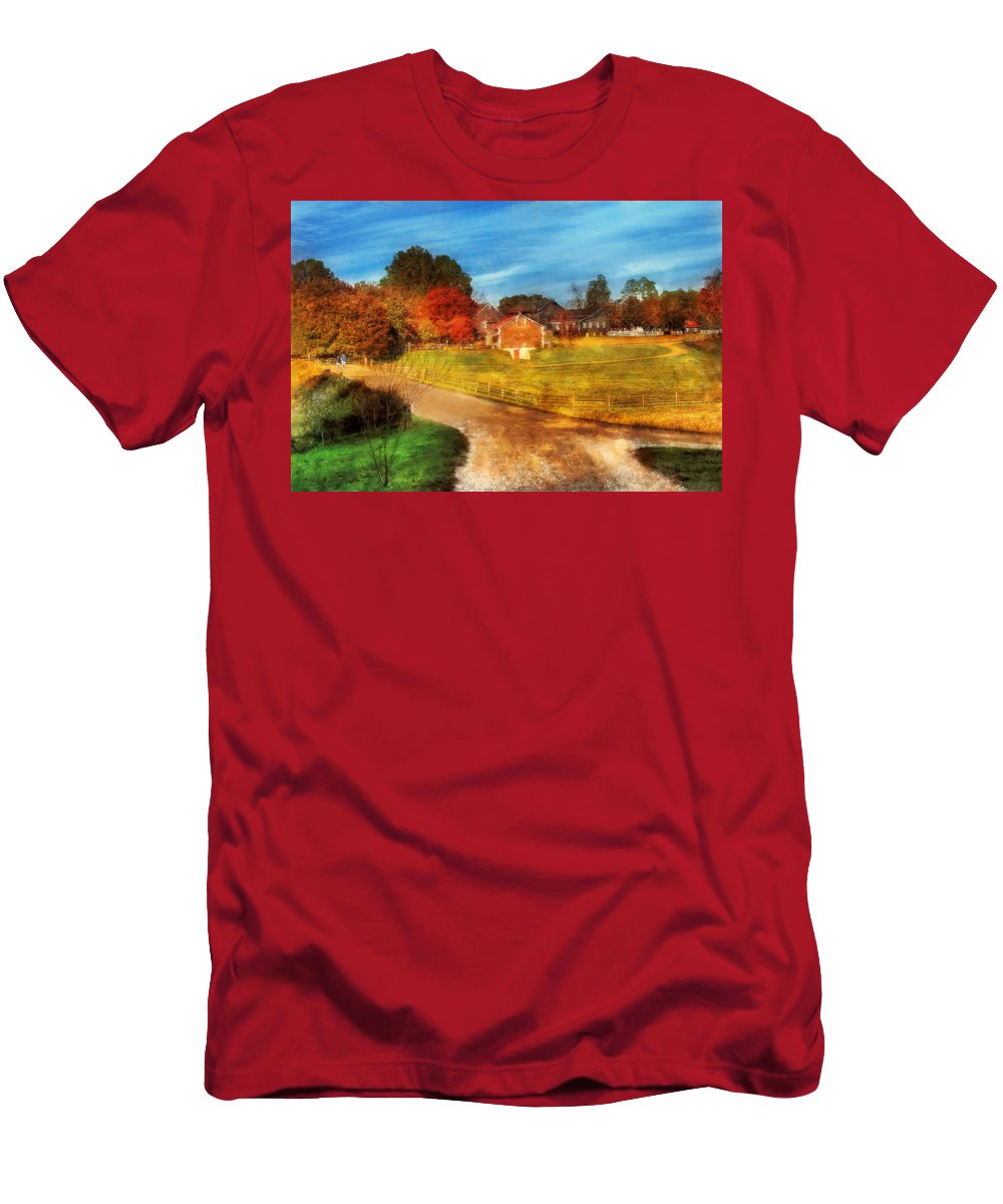 Savad Men's T-Shirt (Athletic Fit) featuring the digital art Farm - Barn - A Walk In The Country by Mike Savad